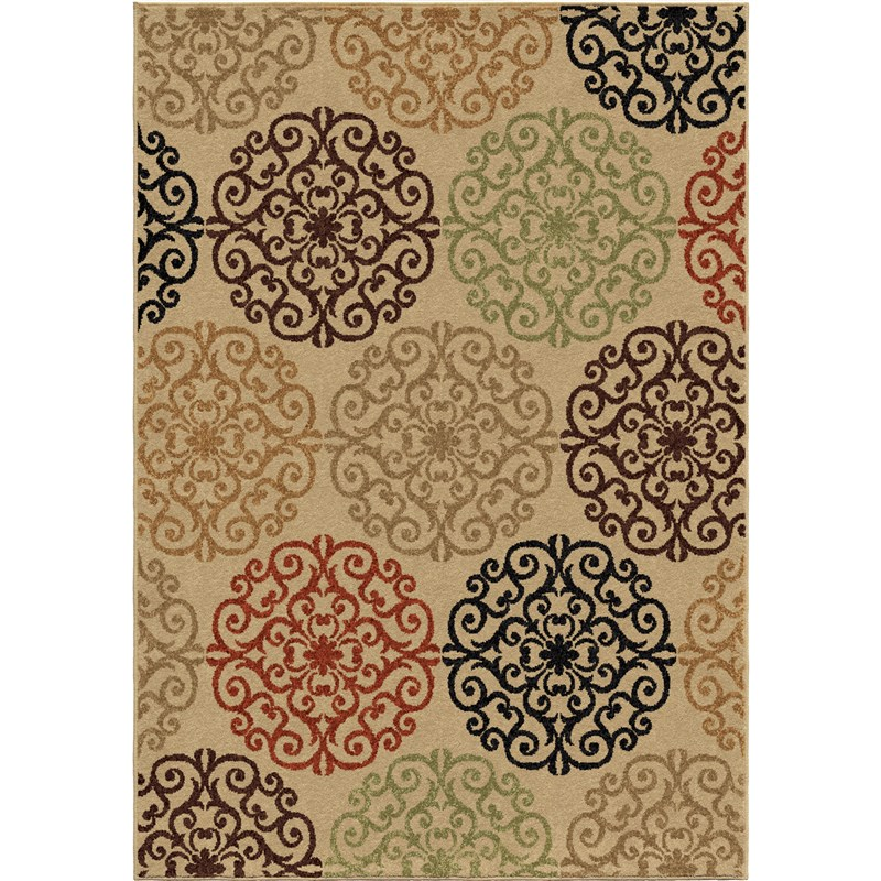 Orian Rugs Indoor/outdoor Medallion Catalina Beige Area Rug 6'5 X 9'8
