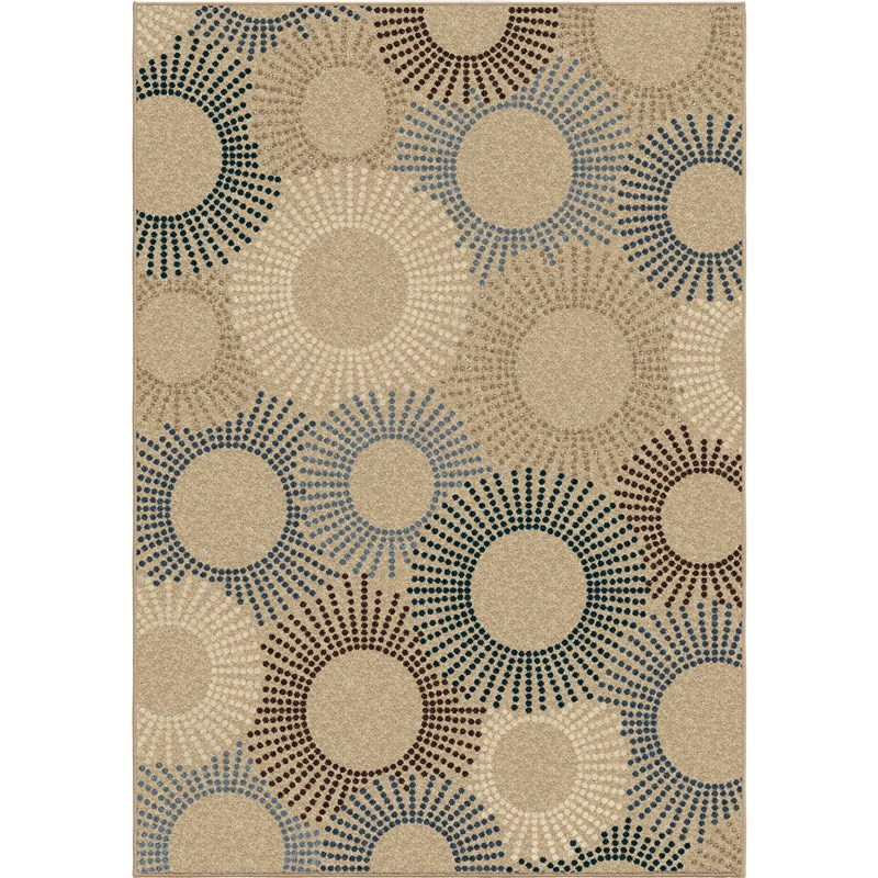 Orian Rugs Indoor/Outdoor Circles Ray of Light Beige Area Rug (5'2