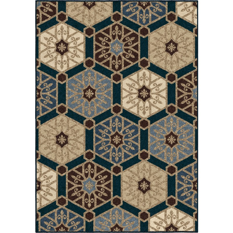 Orian Rugs Indoor/outdoor Hexagons Partha Blue Area Rug 5'2 X 7'6