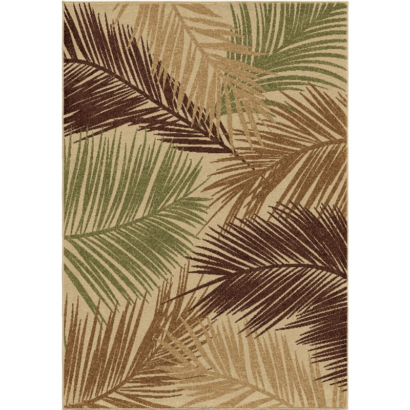 Orian Rugs Indoor/outdoor Leaves Bungalow Palms Multi Area Rug 5'2 X 7'6