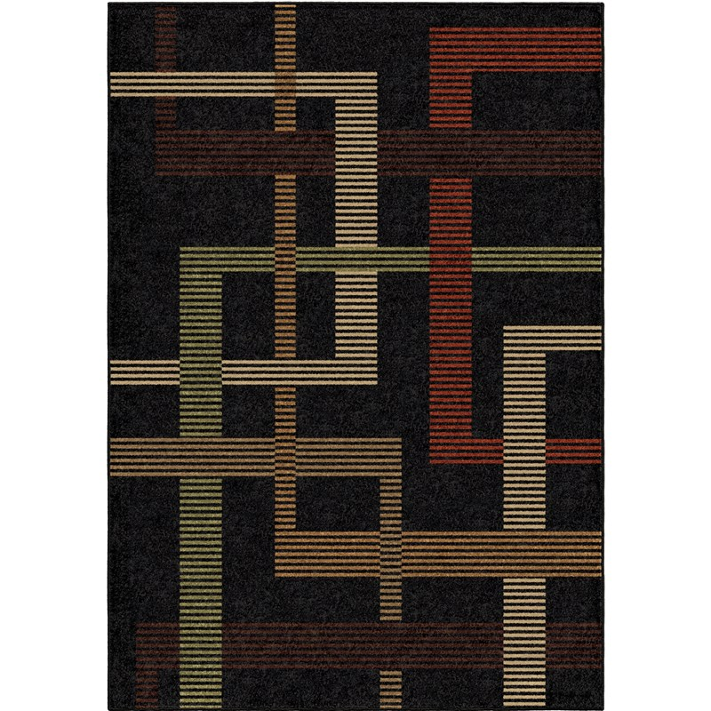 Orian Rugs Indoor/outdoor Lines Trenton Black Area Rug 5'2 X 7'6