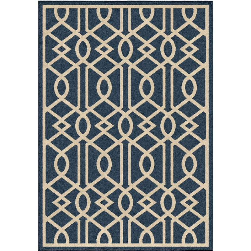 Orian Rugs Indoor/outdoor Scroll Floral Chico Blue Area Rug 5'2 X 7'6