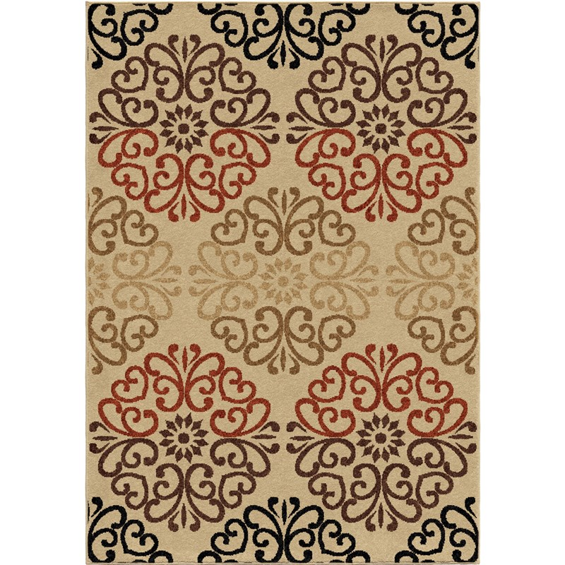 Orian Rugs Indoor/outdoor Scroll Clarkston Multi Area Rug 5'2 X 7'6