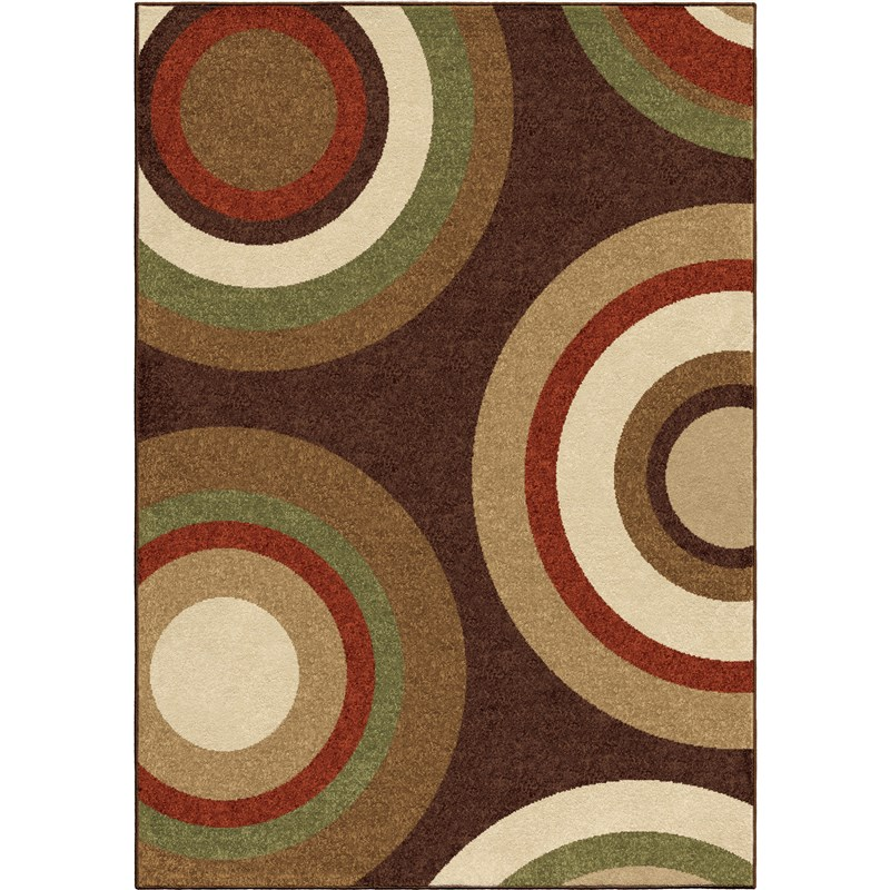 Orian Rugs Indoor/outdoor Circles Roundtree Brown Area Rug 5'2 X 7'6