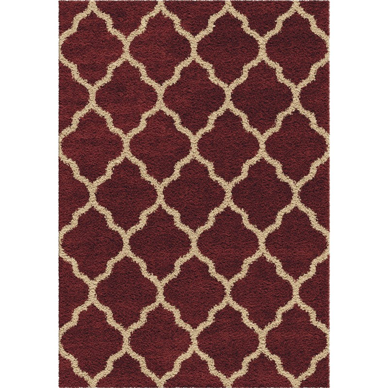 Orian Rugs Plush Trellis Malton Red Area Rug 5'3 X 7'6