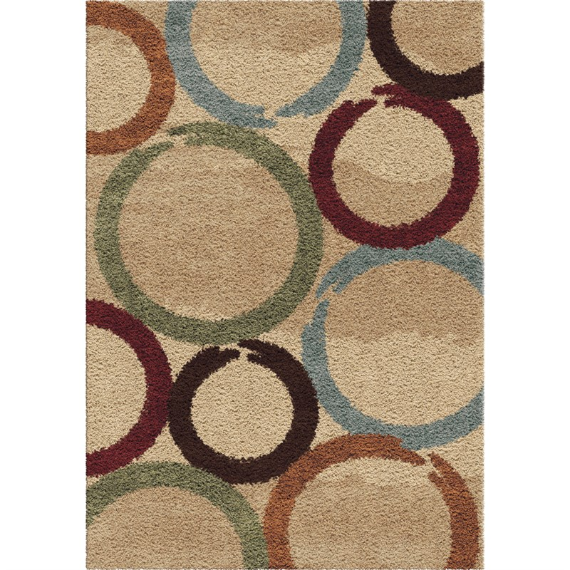 Orian Rugs Plush Circles Hand Drawn Circles Multi Area Rug 5'3 X 7'6