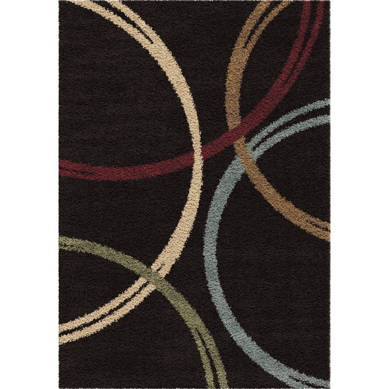 Orian Rugs Plush Rings Woodford Black Area Rug 5'3 X 7'6