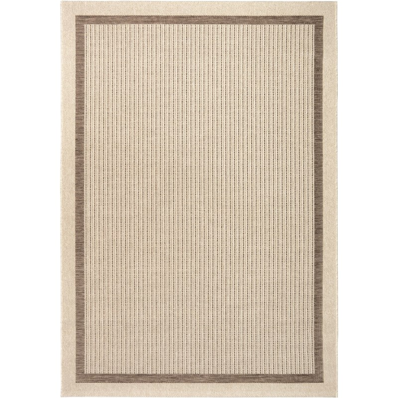 Orian Rugs Indoor/ Outdoor Border Aviva Tan Area Rug 5'1 X 7'6