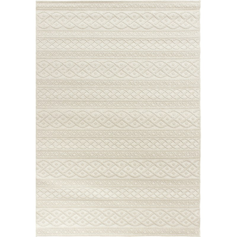 Orian Rugs Indoor/ Outdoor Knit Organic Cable Ivory Area Rug 5'1 X 7'6