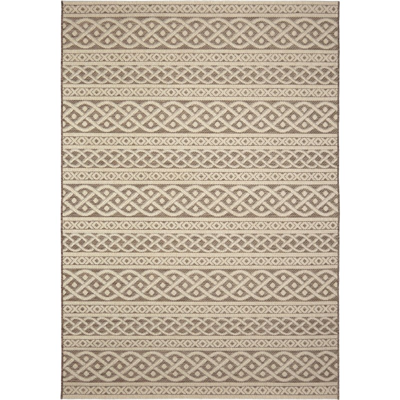 Orian Rugs Indoor/ Outdoor Knit Organic Cable Tan Area Rug 5'1 X 7'6