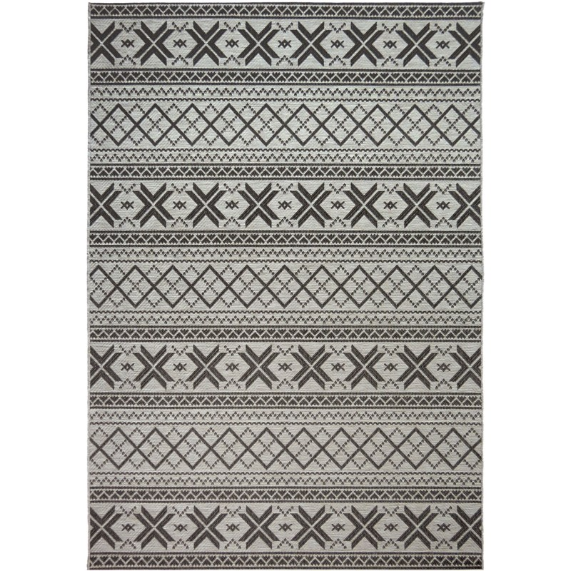 Orian Rugs Indoor/ Outdoor Textured Cablecross Charcoal Area Rug 5'1 X 7'6