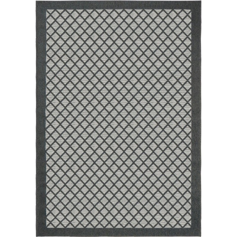 Orian Rugs Indoor/ Outdoor Squares Fusion Trellis Charcoal Area Rug 5'1 X 7'6