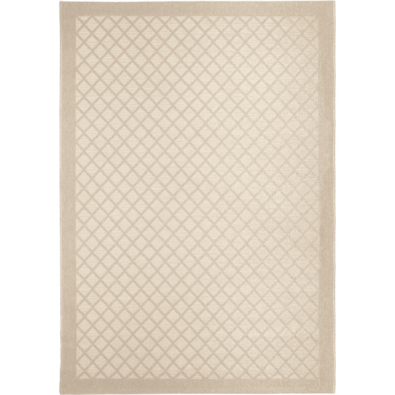 Orian Rugs Indoor/ Outdoor Squares Fusion Trellis Ivory Area Rug 5'1 X 7'6