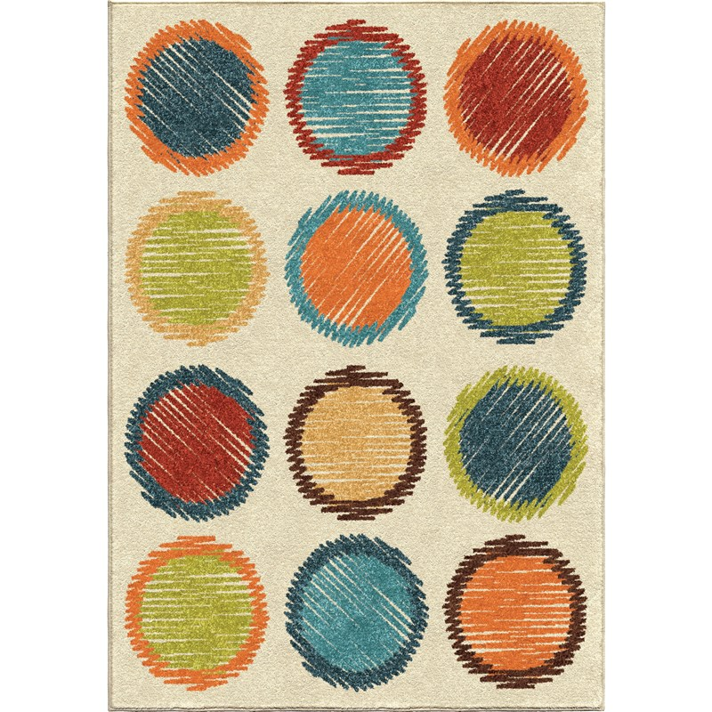Orian Rugs Kids Polka Dots Circle Sketch Multi Area Rug 3'10 X 5'2