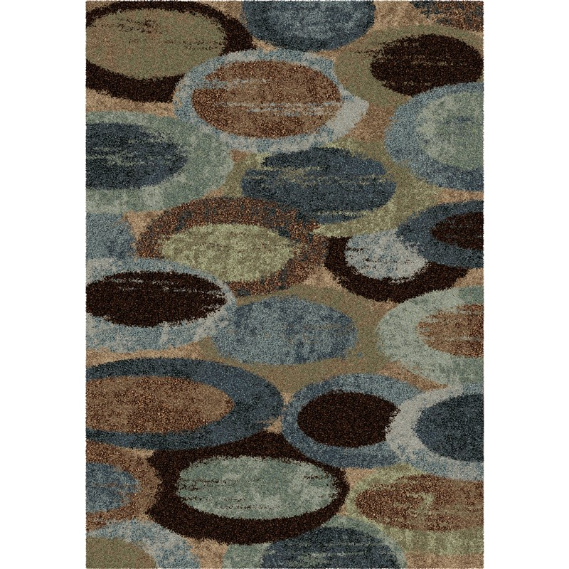 Orian Rugs Plush Circles Pulpit Blue Area Rug