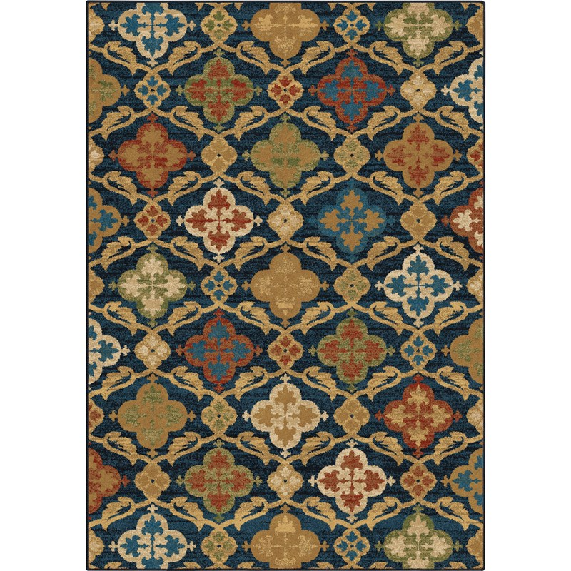 Orian Rugs Bright Color Medallion Tuscan Field Blue Area Rug 5'3 X 7'6