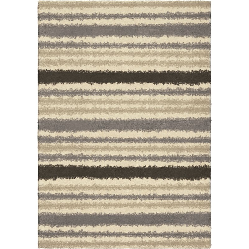 Orian Rugs Plush Stripes Petley Ivory Area Rug 5'3 X 7'6