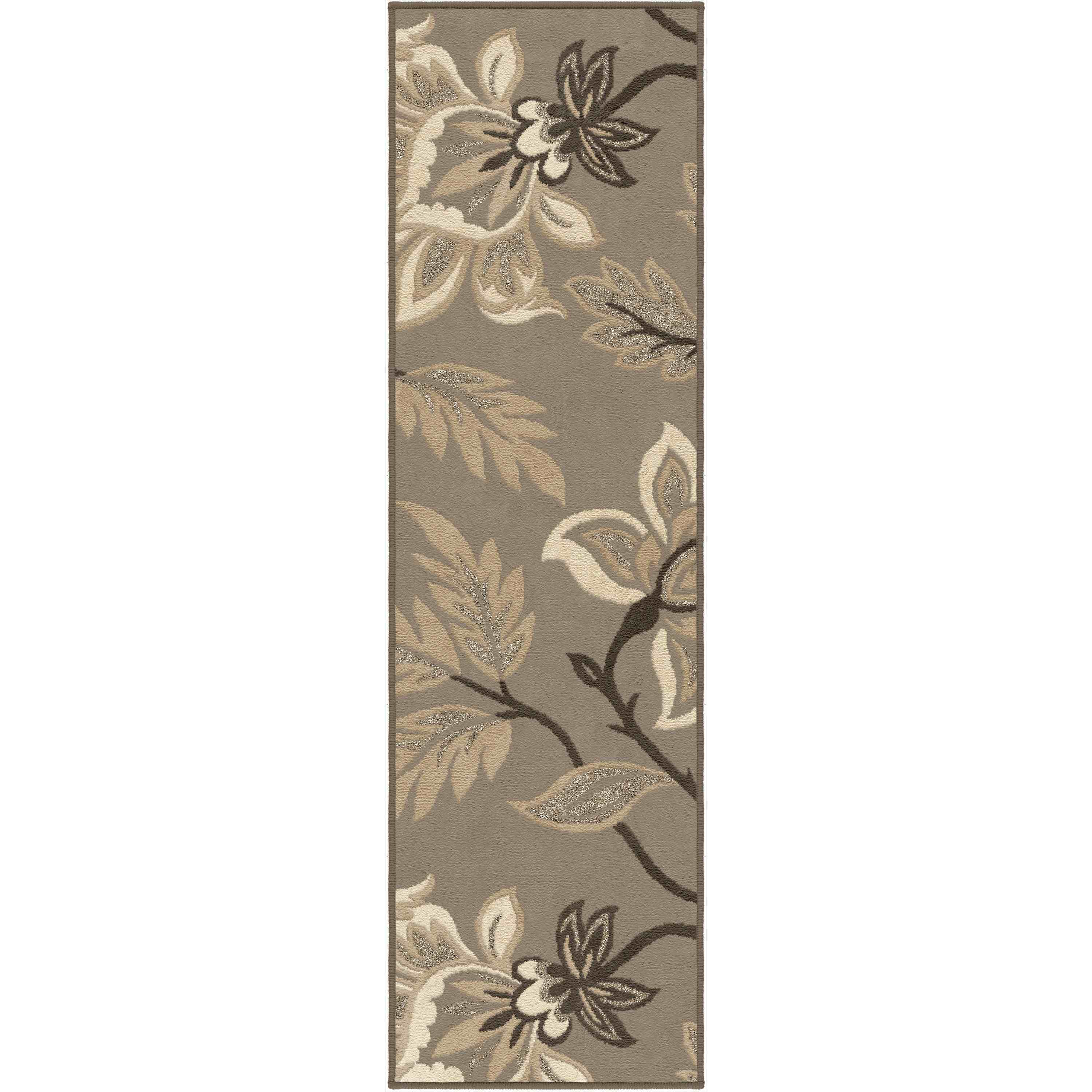 Orian Rugs Indoor Floral Lily  Taupe Runner