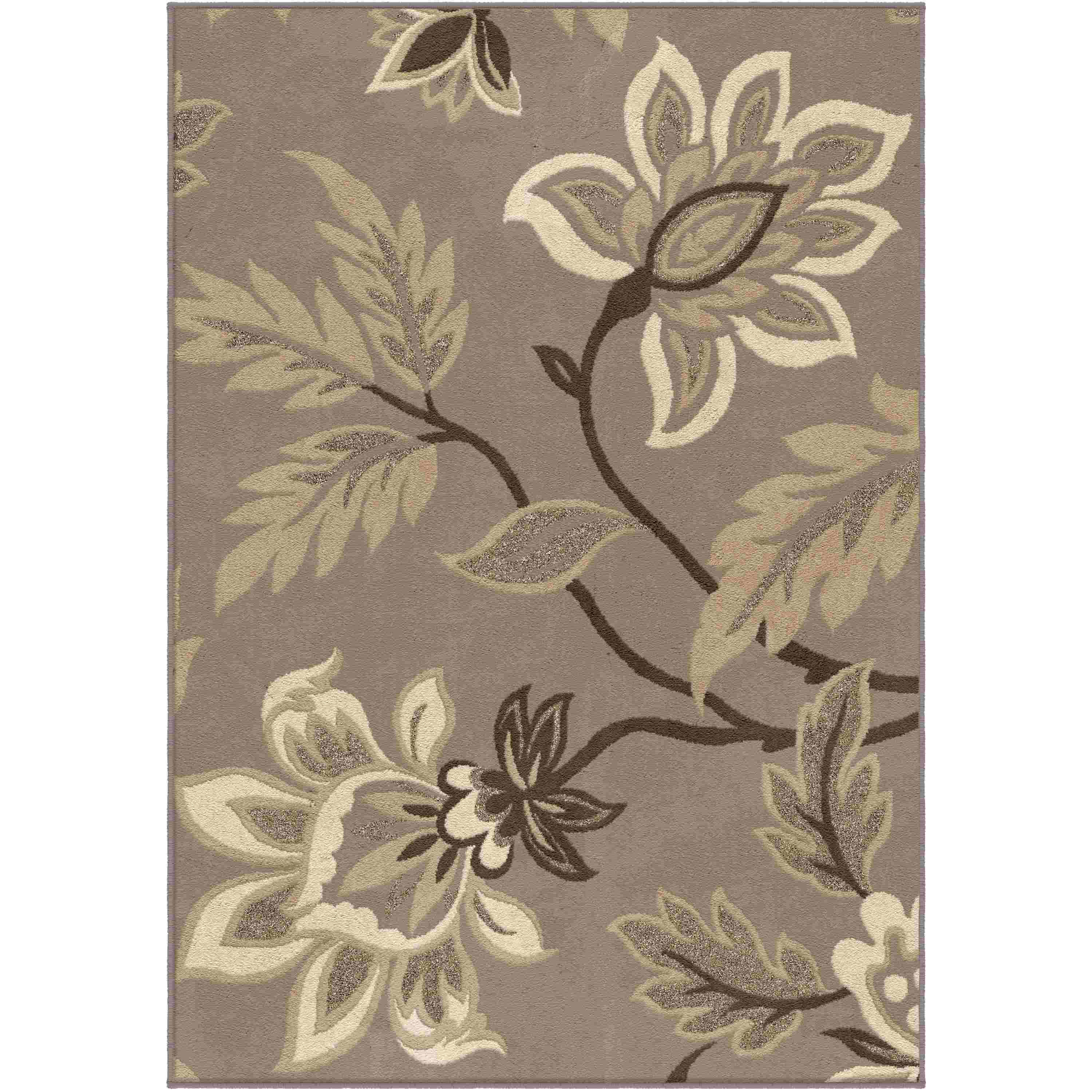 Orian Rugs Indoor Floral Lily  Taupe Area Rug