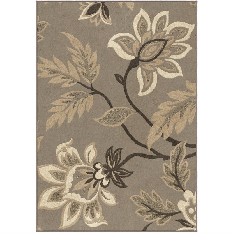 Orian Rugs Trendy Colors Floral Lily  Grey Area Rug 6'7 X 9'8