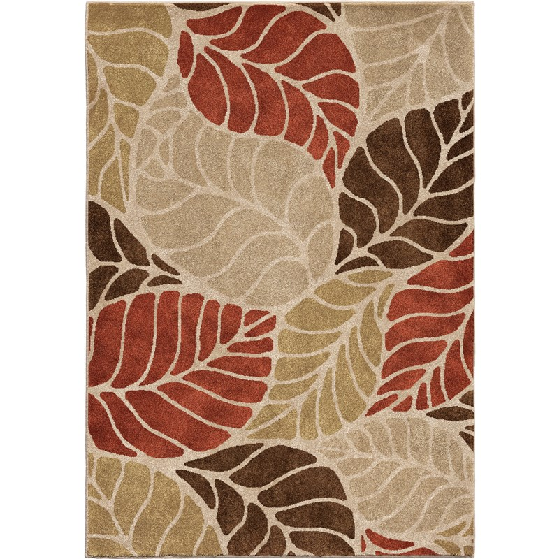 Orian Rugs Insanely Soft  Leaves Palm Overlay Beige Area Rug 7'10 X 10'10
