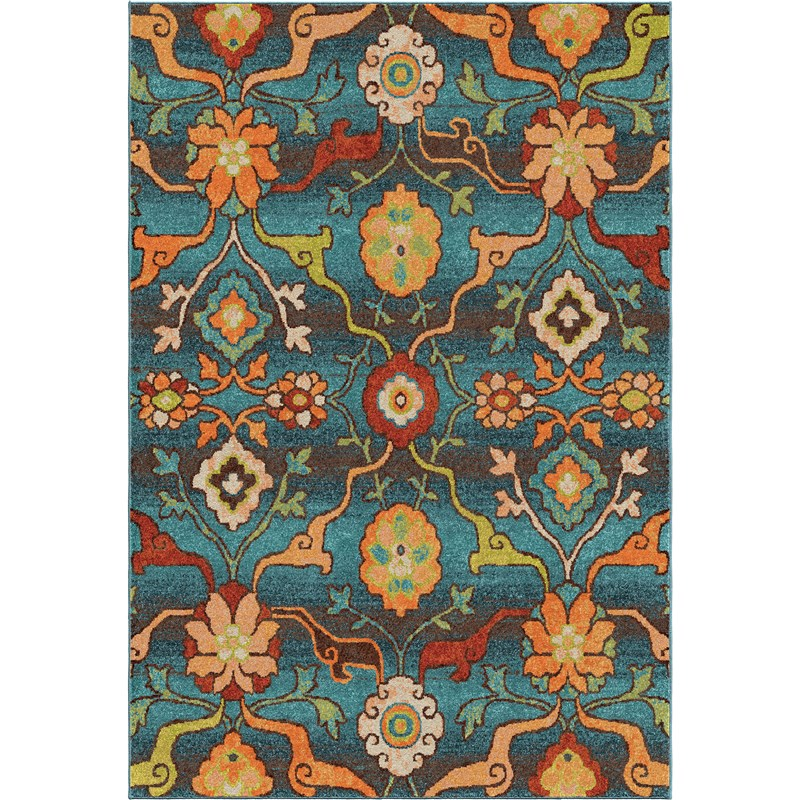 Orian Rugs Bright Color Floral Tibet Blue Area Rug 5'3 X 7'6