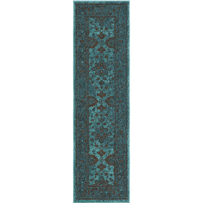Orian Rugs Bright Color Modern Traditional Ethnicagra Blue Area Rug 6'7 X 9'8