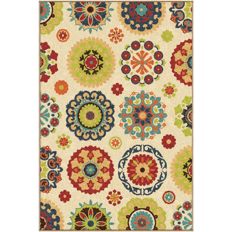 Orian Rugs Indoor/outdoor Medallion Hubbard Multi Area Rug 6'5 X 9'8