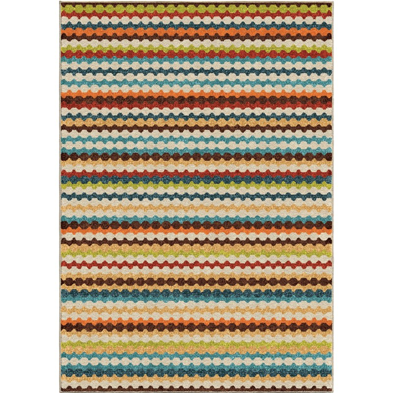 Orian Rugs Indoor/outdoor Stripes Connect The Dots Multi Area Rug 6'5 X 9'8