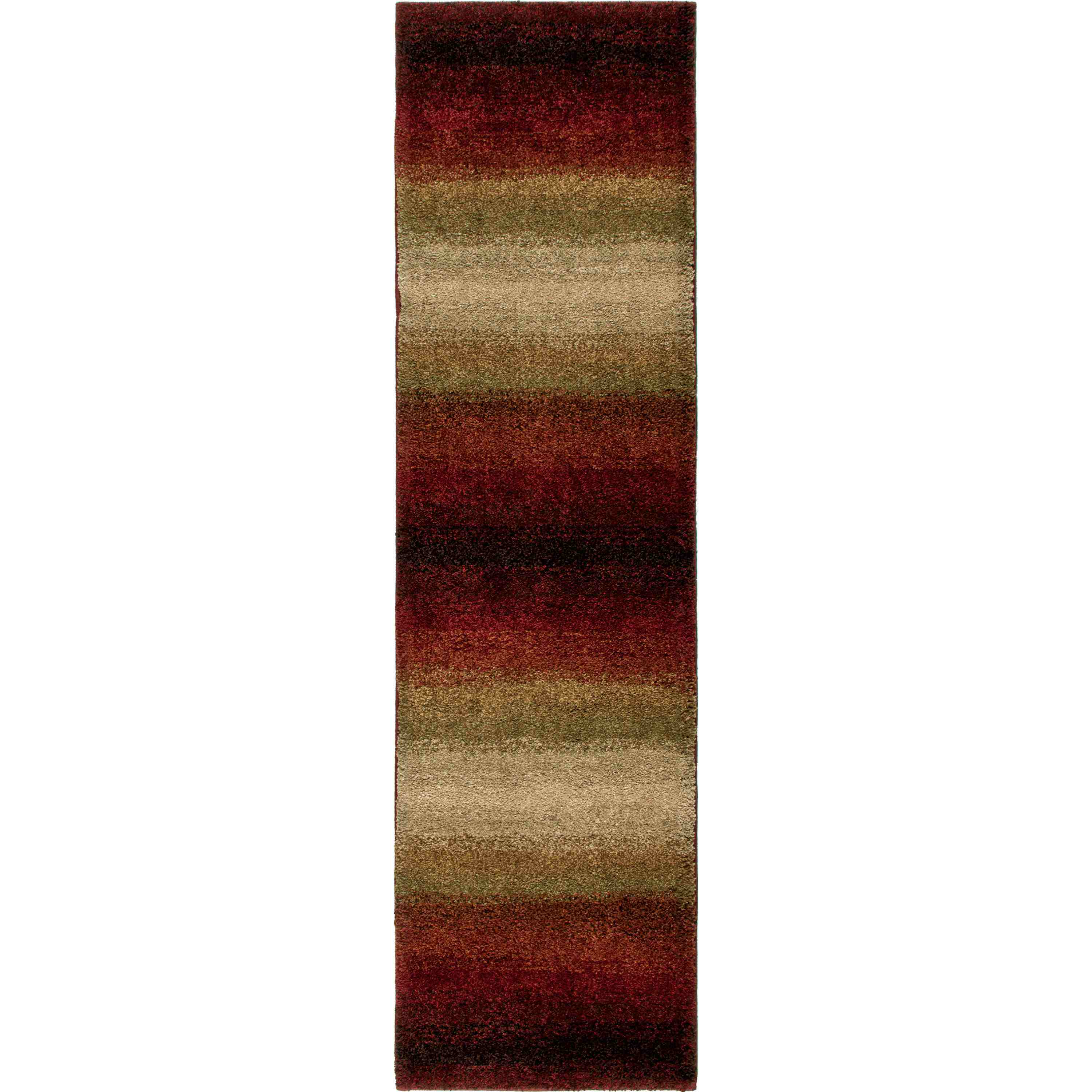 Orian Rugs Plush Stripes Skyline Lava Runner