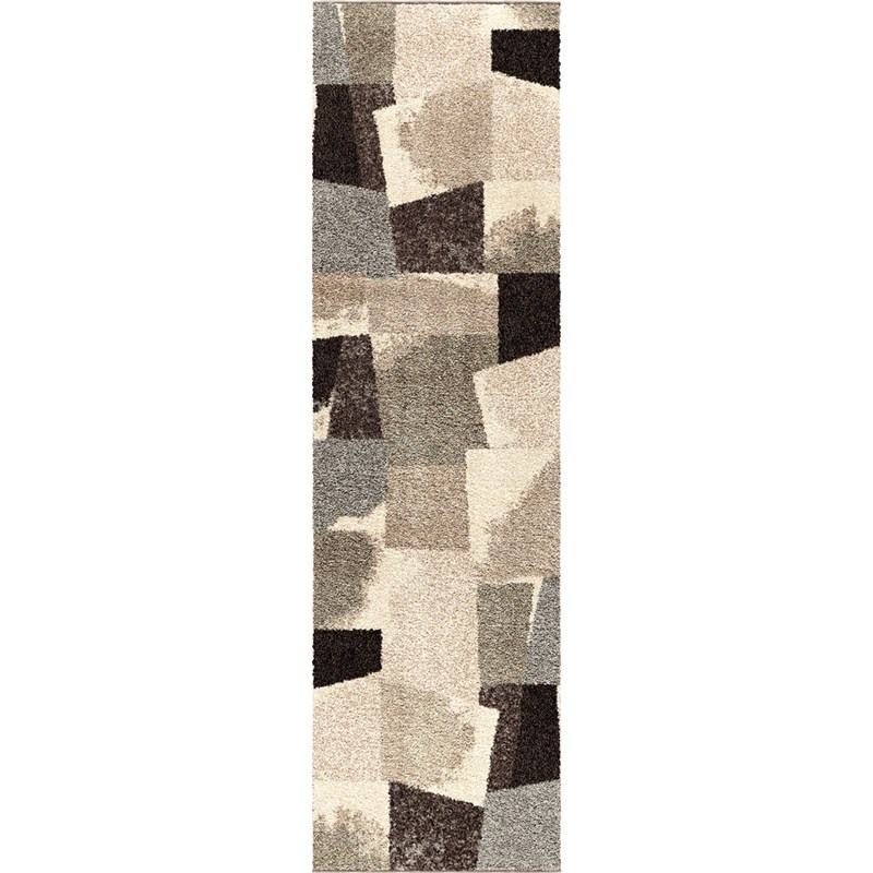 Orian Rugs Plush Abstract Rampart Gray Runner 2'3 X 8'