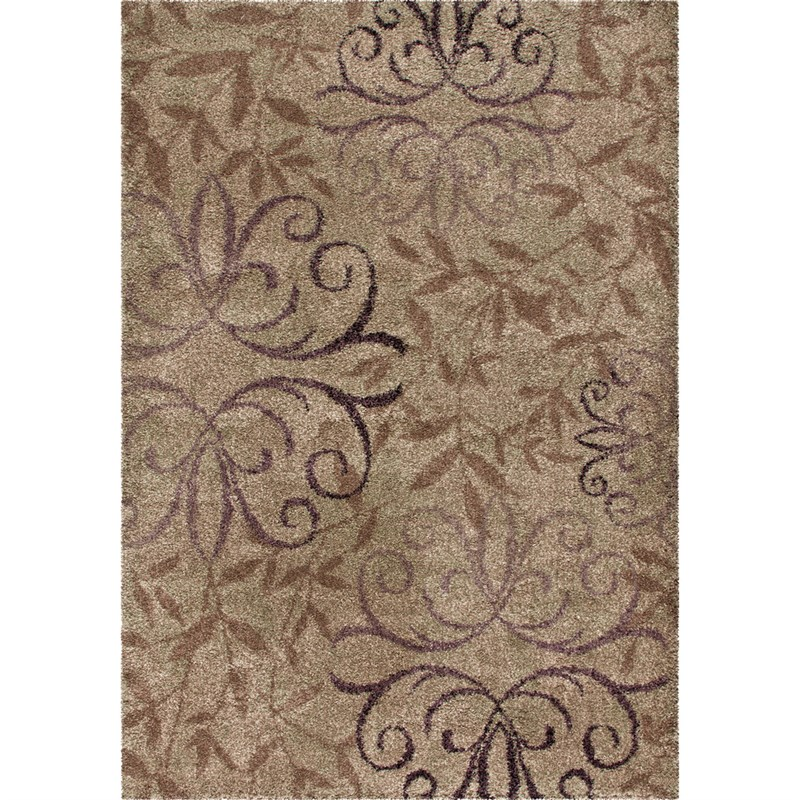 Orian Rugs Plush Scroll Dorian Beige Area Rug 6'7 X 9'8