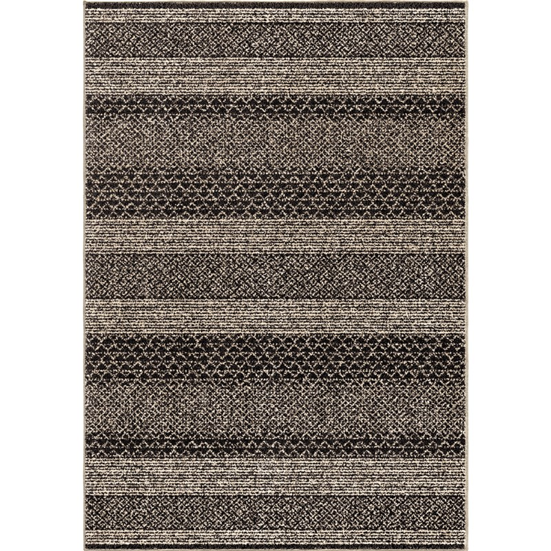 Orian Rugs Plush Chevron Stavanger Black Area Rug 5'3 X 7'6