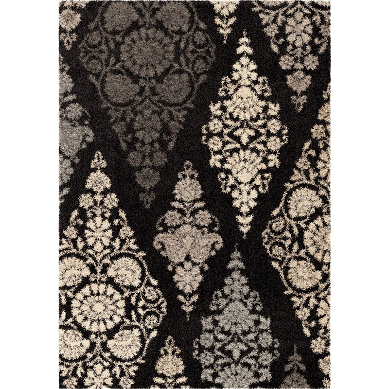 Orian Rugs Plush Circles Trellis Patch Black Area Rug 7'10 X 10'10