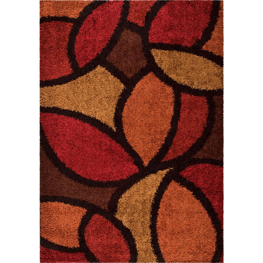 Orian Rugs Shag Geometric Bloom Petal Red Area Rug 5'3 X 7'6