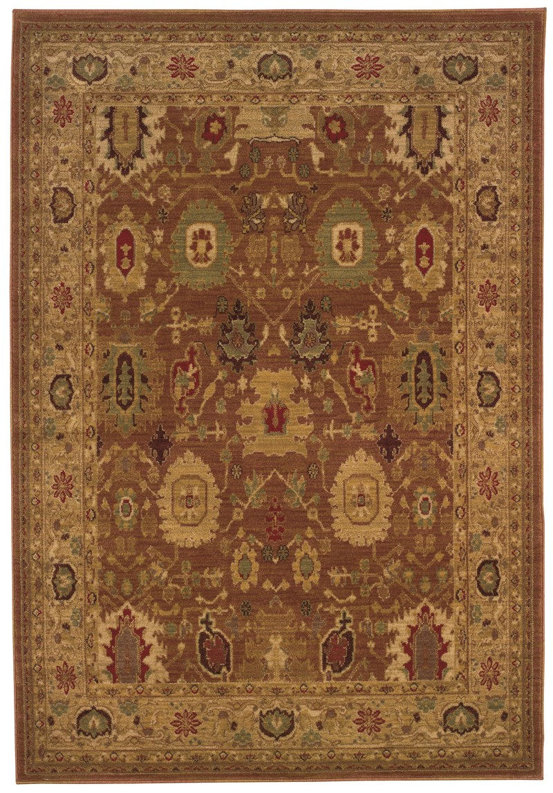 Traditional  Glamor Rust 5'3 X 7'6 Rug