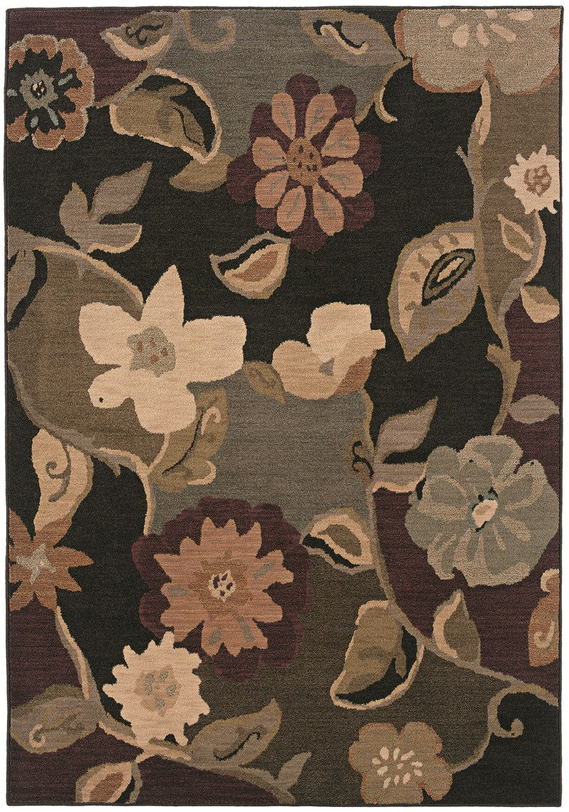 Contemporary Lorient Black 3'-10 X 5'-5 Rug