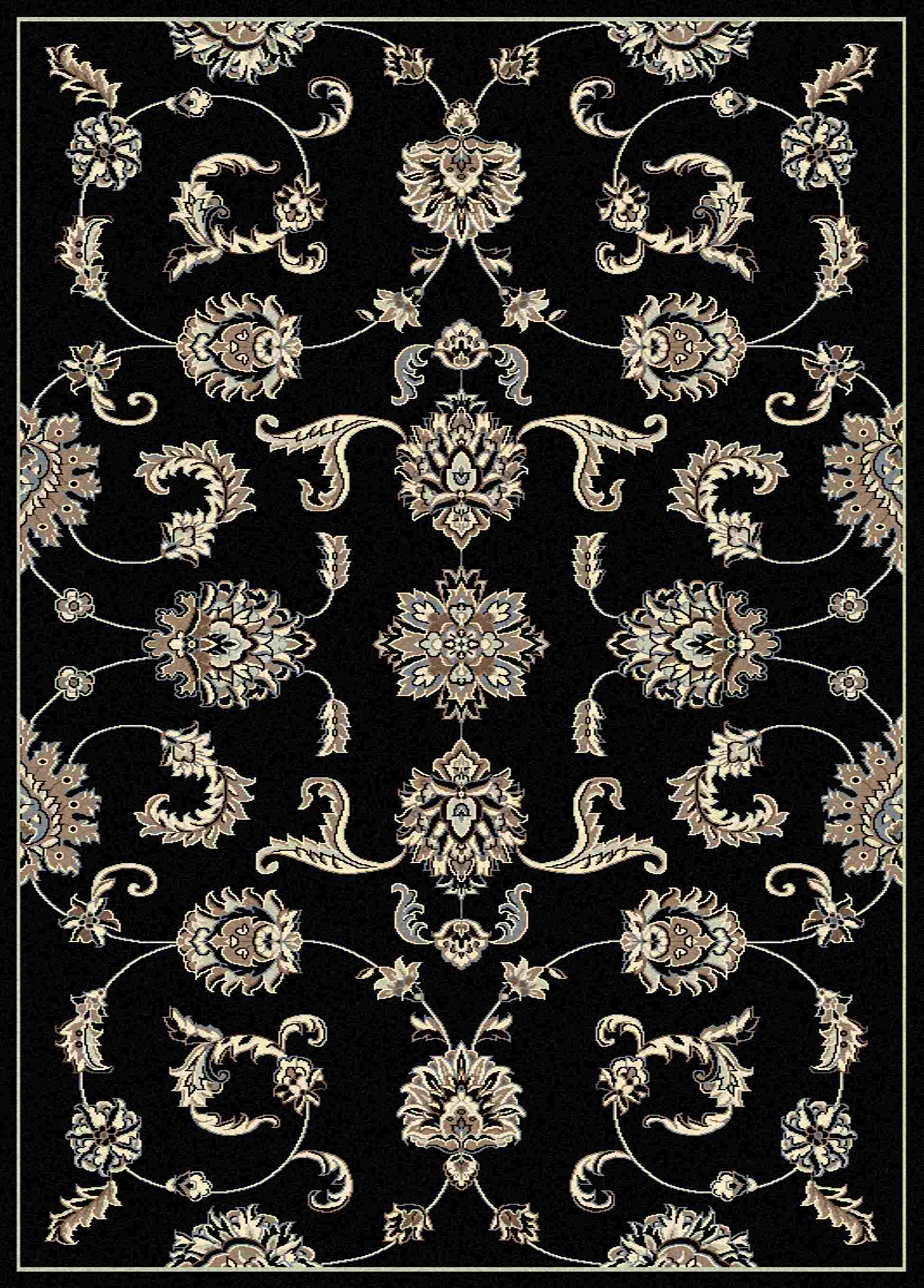 Radici Usa Alba 1869 Black Traditional Area Rug