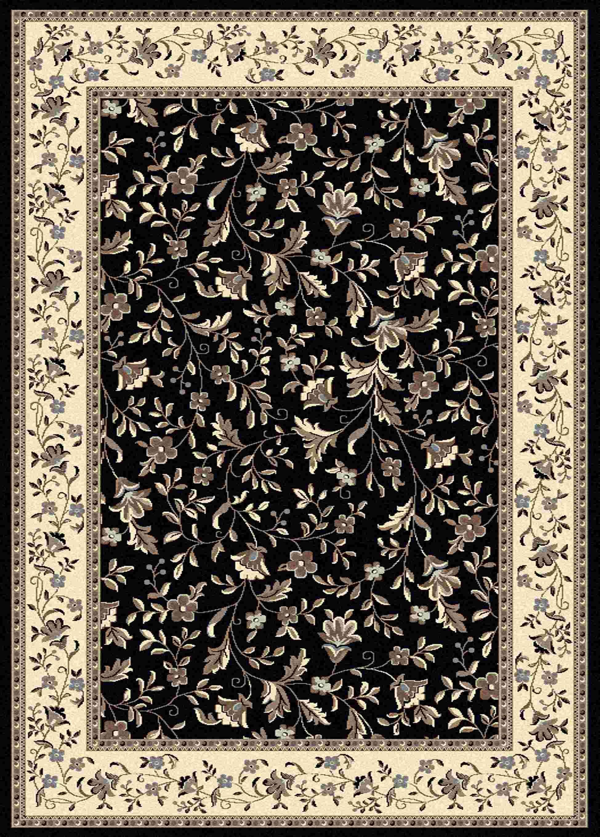 Radici Usa Alba 1876 Black Traditional Area Rug