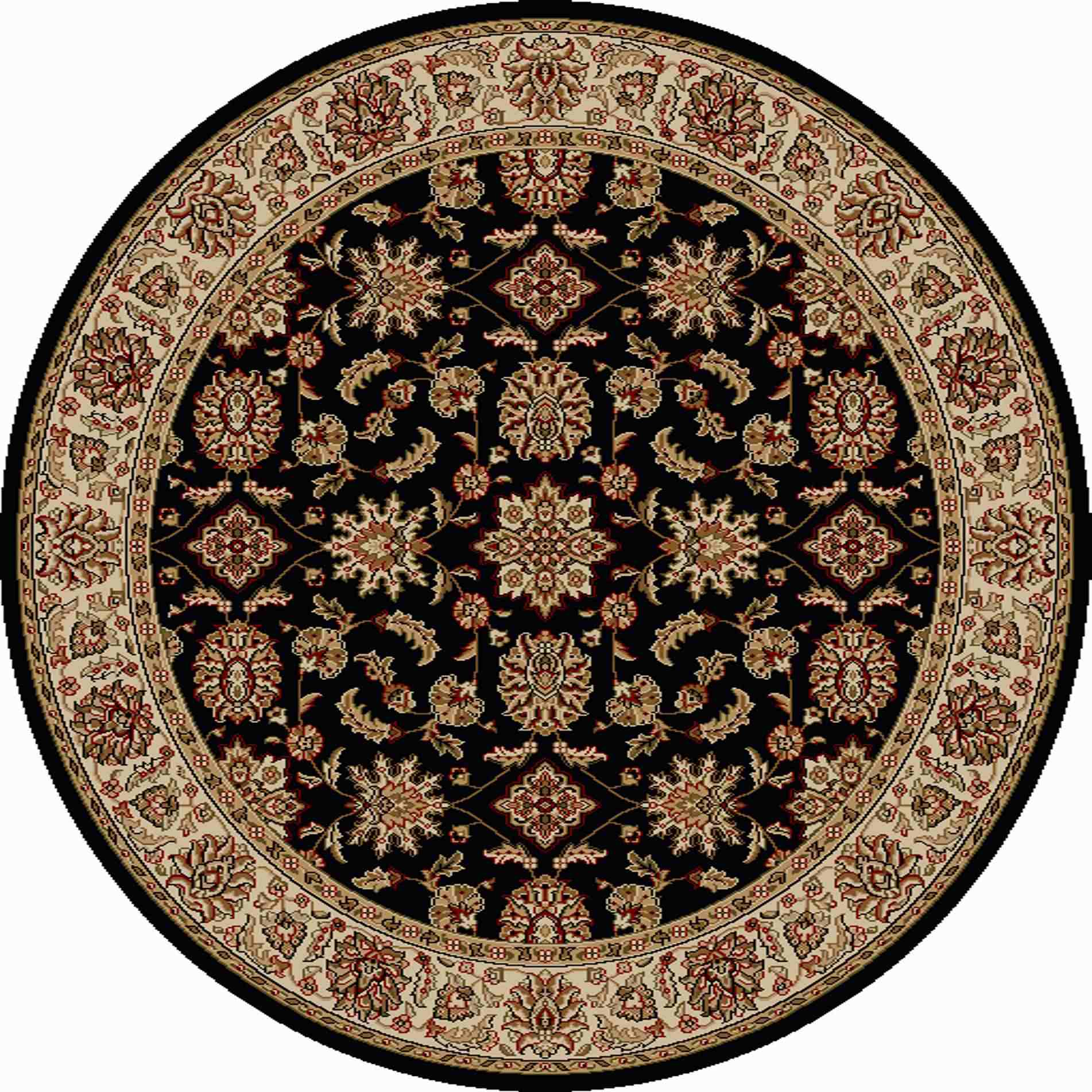 Radici Usa Como 1592 Black Traditional Area Rug