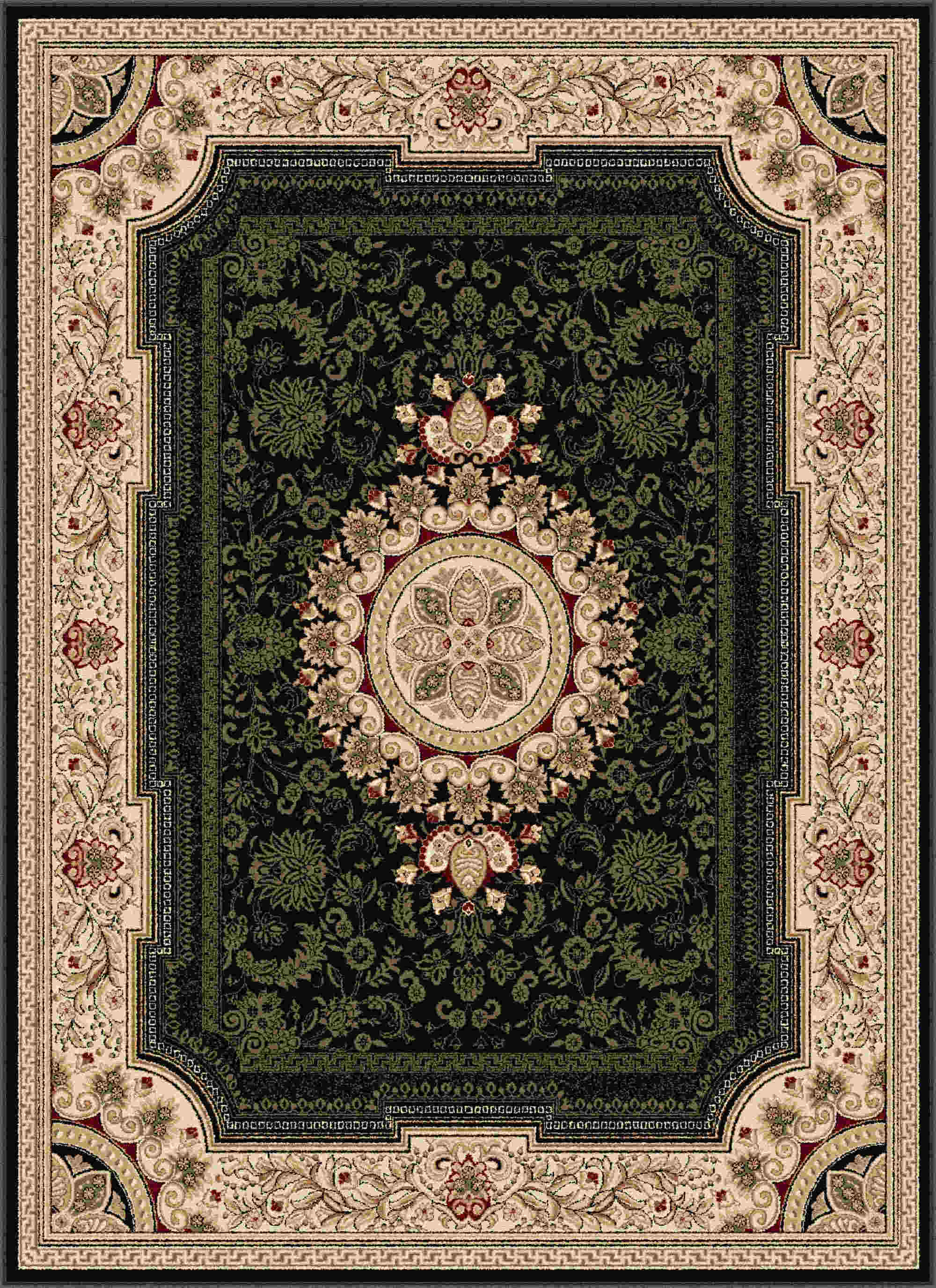 Sensation 4673 Black Traditional Area Rug
