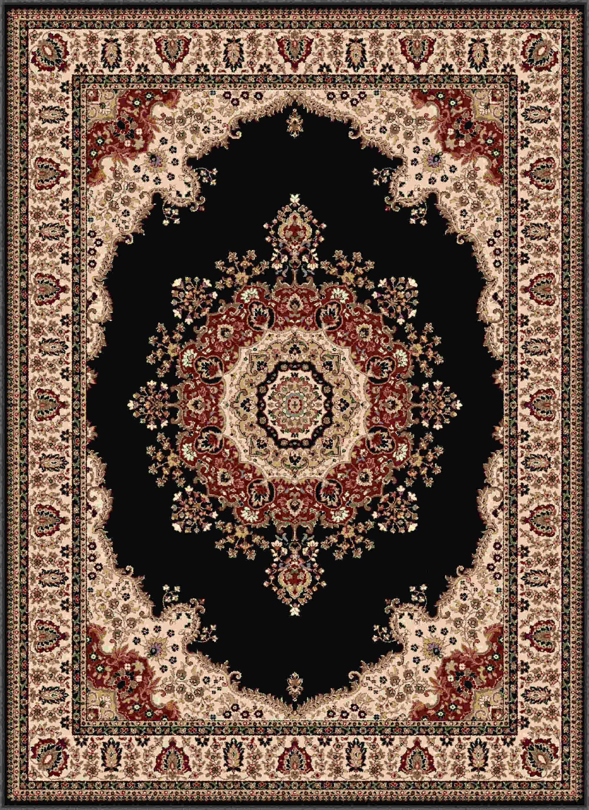 Sensation 4703 Black Traditional Area Rug