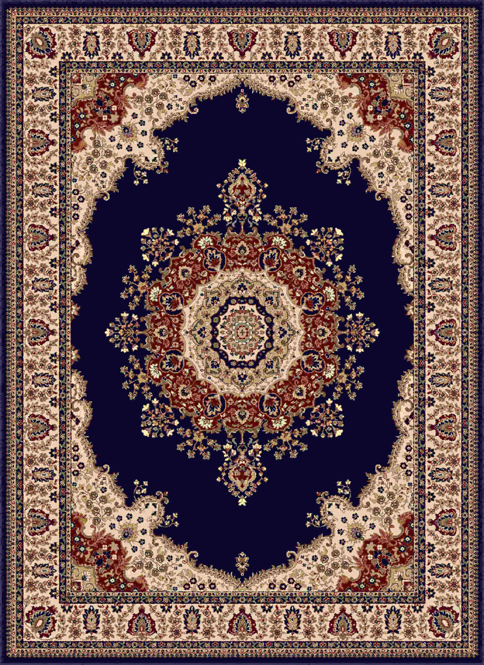 Sensation 4707 Navy Blue Traditional Area Rug