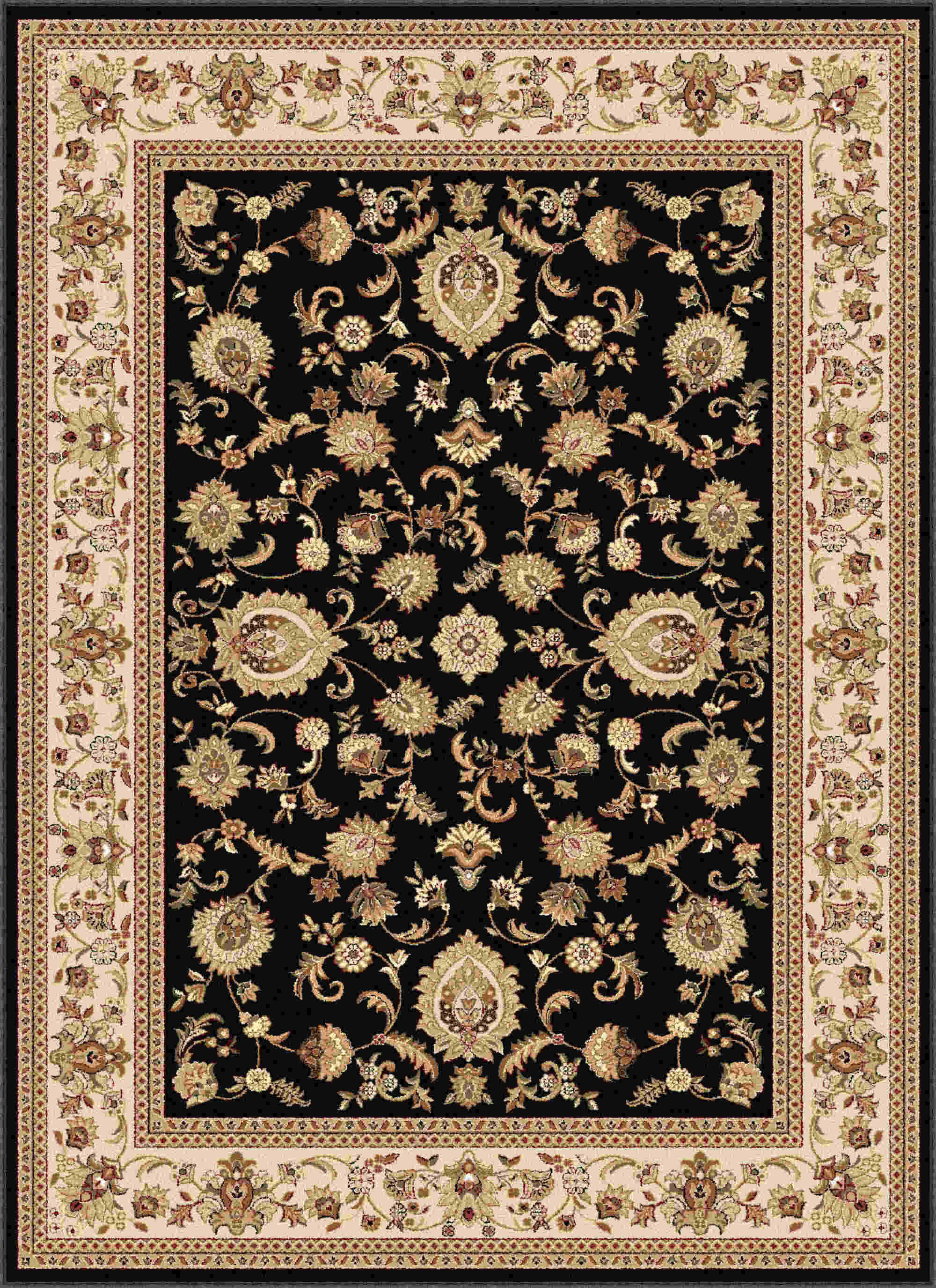 Sensation 4723 Black Traditional Area Rug