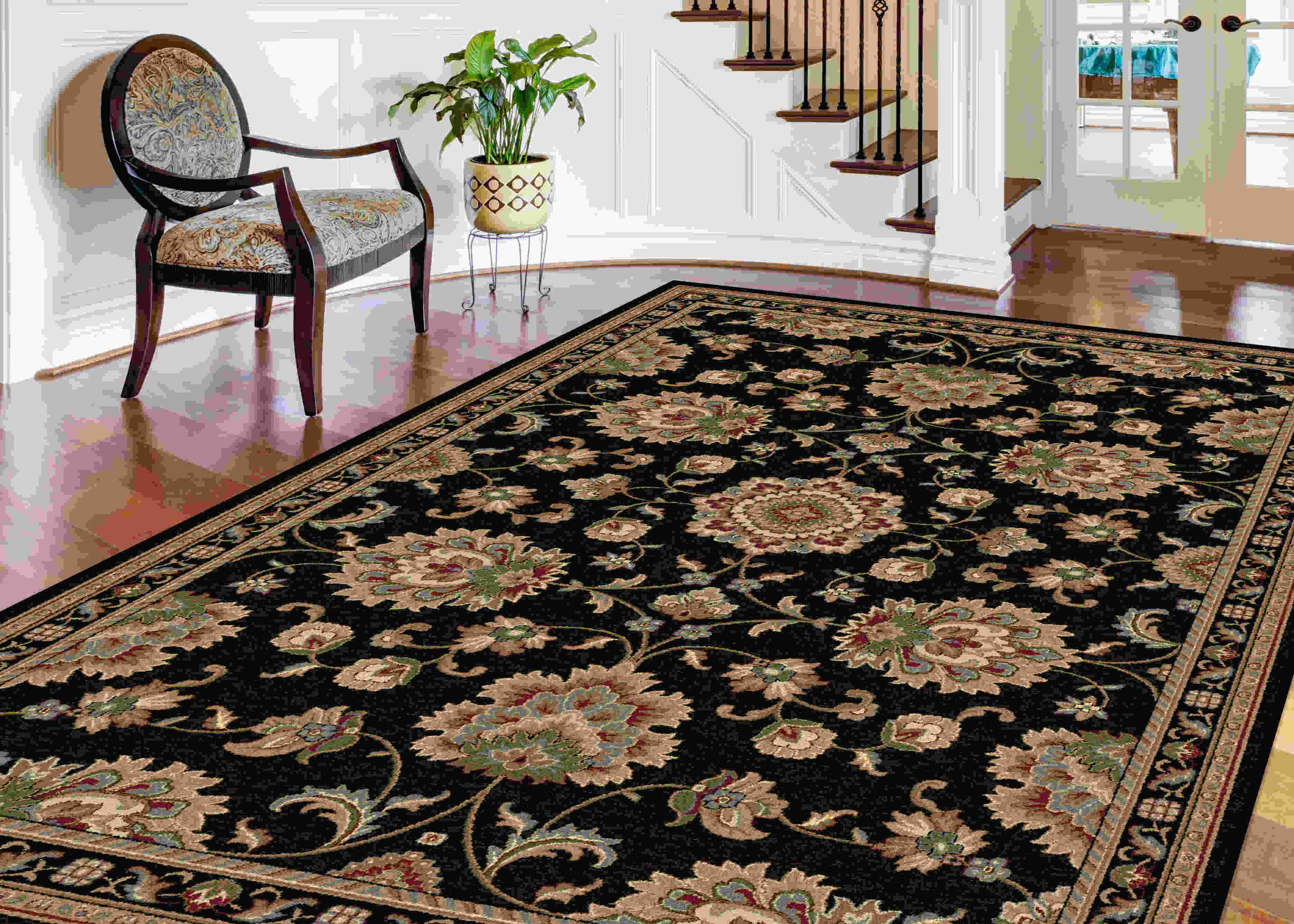 Sensation 4853 Black Traditional Area Rug