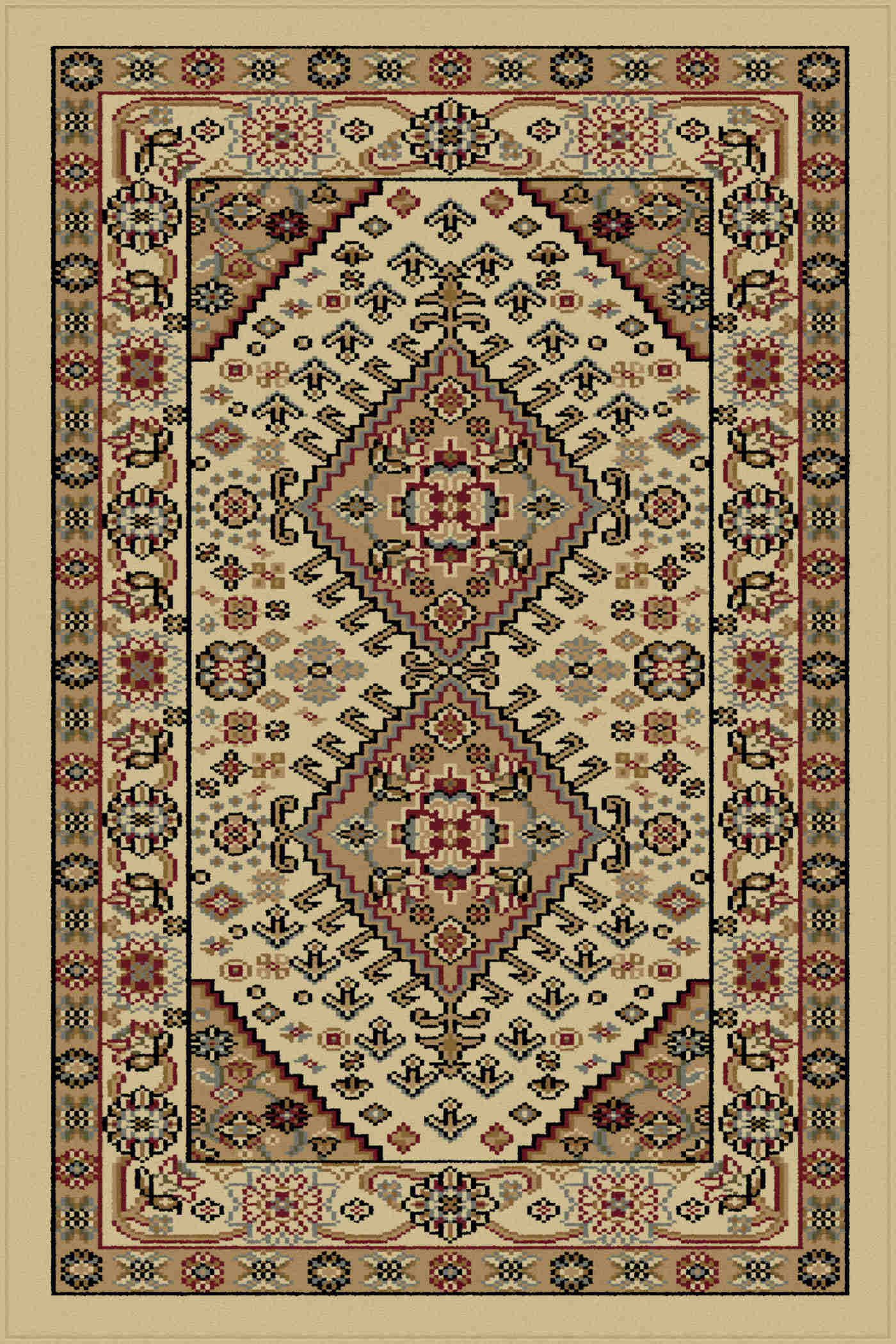 Sensation 4872 Ivory Traditional Area Rug