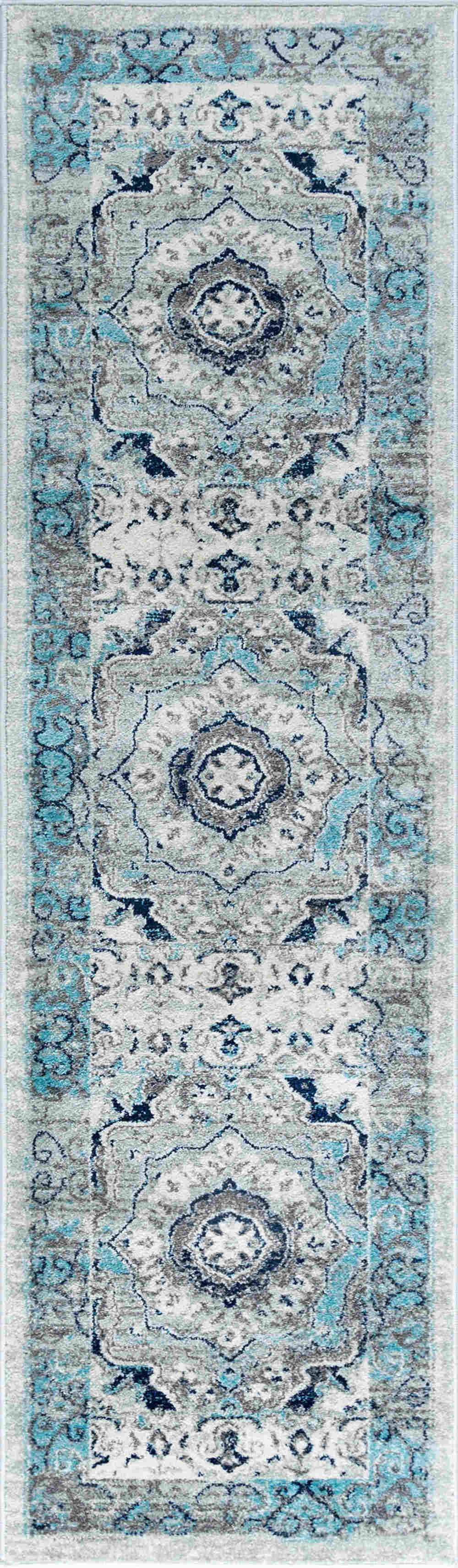 Tayse Jasmine Veriana Transitional Aqua Rug