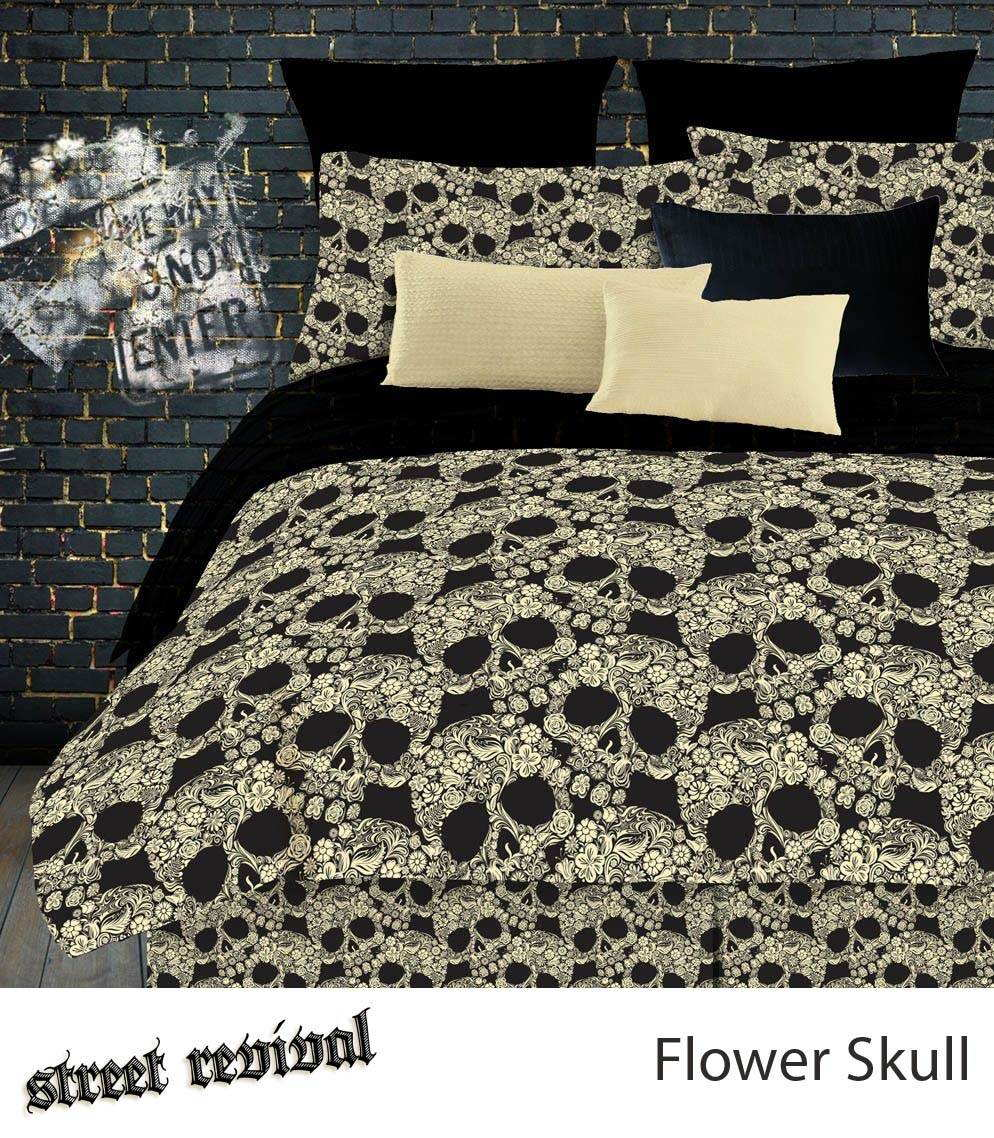 Veratex Flower Skulls Comforter Bed Set