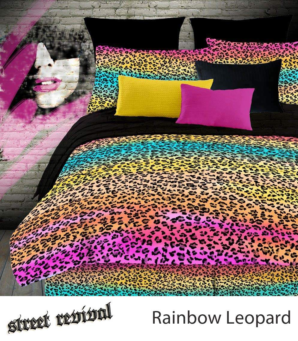 Veratex Rainbow Leopard Comforter Bed Set
