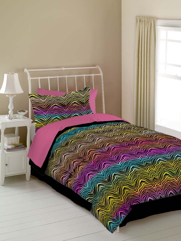 Veratex Rainbow Zebra Comforter Bed Set